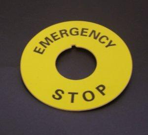 Табличка маркировочная EMERGENCY STOP желтая  круглая
