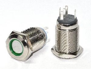 Кнопка металлическая с подсветкой. 2NO+2NC,  зеленая 220V TYJ 16-262