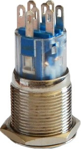 Кнопка метал. с подсв. 2NO+2NC, зеленая 220V TYJ  19-272