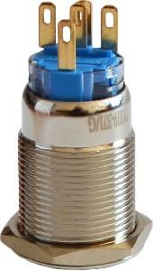 Кнопка метал. с фиксац. 1NO+1NC, с подсв., зеленая  220V TYJ 19-371