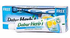 Отбеливающая зубная паста з солью и лимоном Dabur + зубная щетка, 150 г