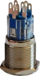 Кнопка метал. с фиксац. 2NO+2NC, с подсв., зеленая  220V TYJ 19-372