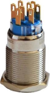 Кнопка метал. с фиксац. 2NO+2NC, с подсв., красная  220V TYJ 19-372