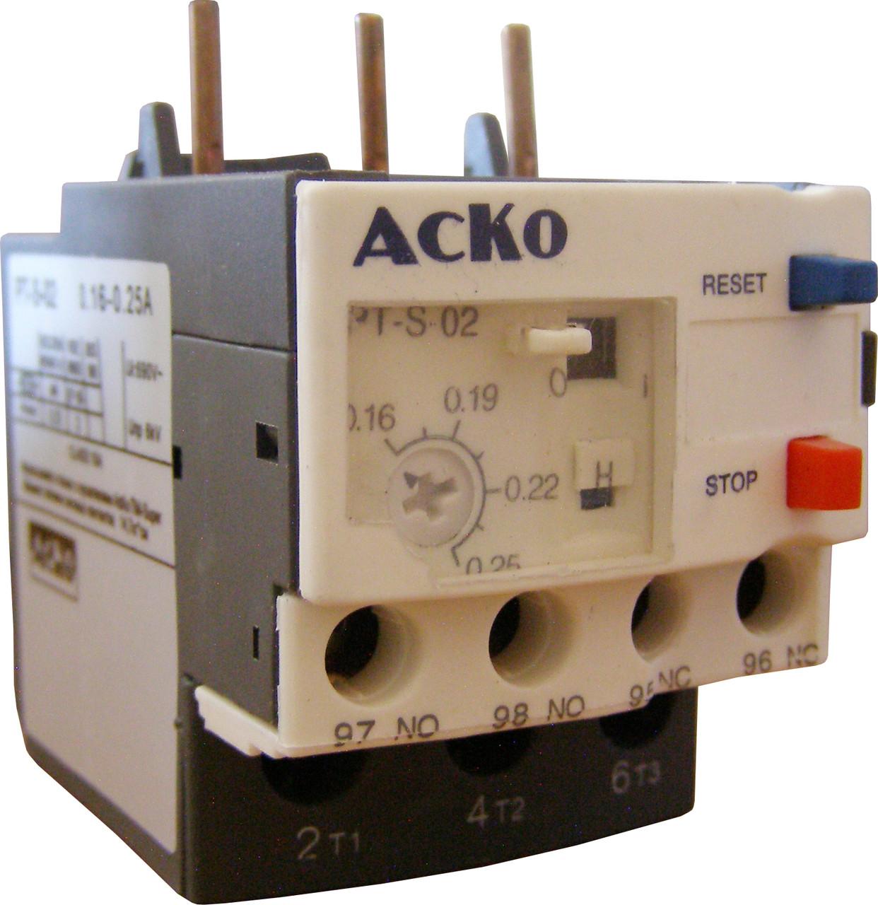 Реле электротепловое PT-S 02 (0.16-0.25A)