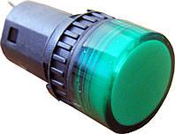 Светосигнальная арматура AD16-16DS зеленая  24V АC/DC