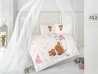 Постельное белье в детскую кроватку 100*150 Тедди девочка TM Clasy