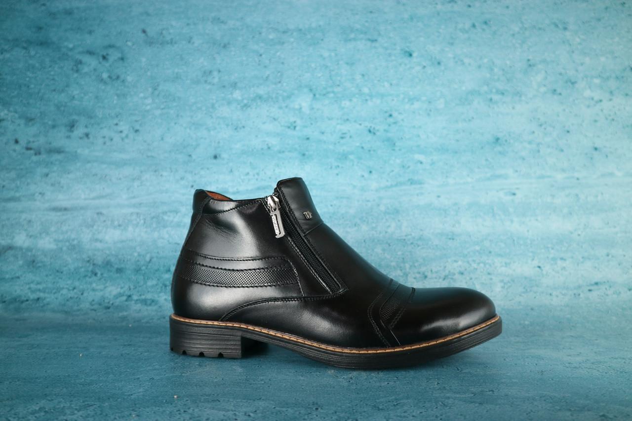 Мужские классические зимние ботинки Vivaro (черные), ТОП-реплика