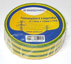 Изолента 0,13мм*19мм/10м желто-зеленая