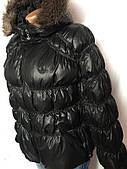 Пуховик женский Adidas, зимний черный, с капюшоном, меховой опушкой, оригинал, размер S