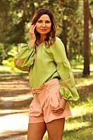 Женская вышиванка светло-зеленого цвета с пышными рукавами Ж24-255