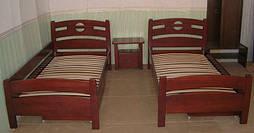 """Деревянная мебель (односпальная кровать """"Сакура"""", комод """"Конго-3"""" и тумбочка """"Сакура-2"""")"""