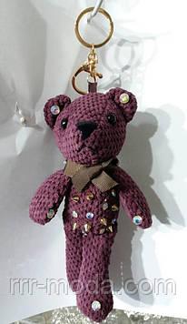 114 Вязаный брелок- игрушка медведь для сумок и ключей. Брелки Hade made 25 см