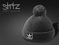 Серая шапка c помпон/бубоном адидас (Adidas Originals) реплика