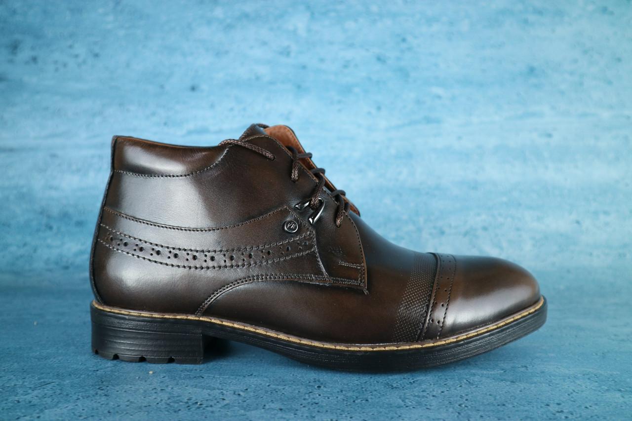 Мужские классические зимние ботинки Vivaro (коричневые), ТОП-реплика