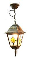 Светильник подвесной уличный «Пушкинский»  652S античное золото/витражное стекло