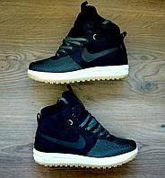 Кроссовки мужские демисезонные Nike Lunar Force 1 High Black-green реплика