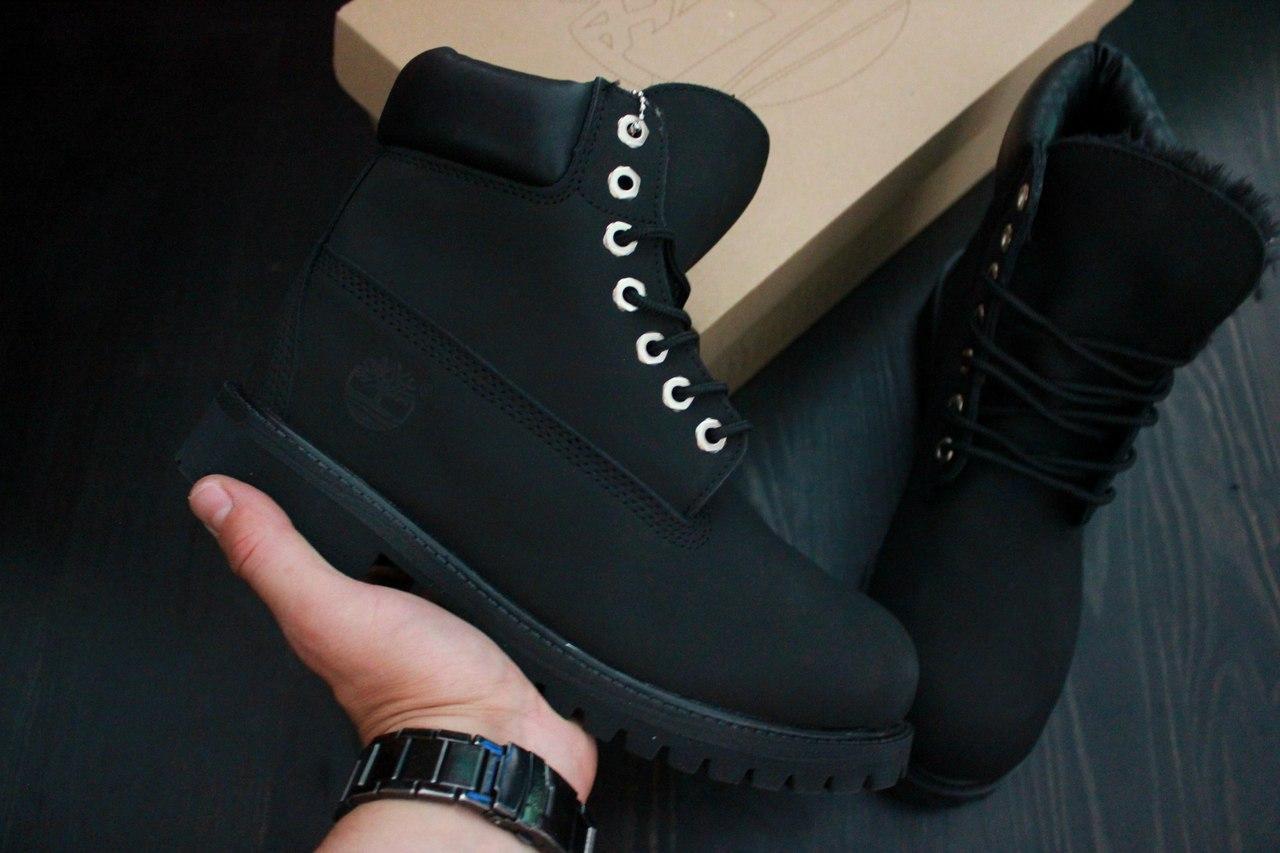 Зимние мужские ботинки Timberland Classic Black Boots с натуральным мехом