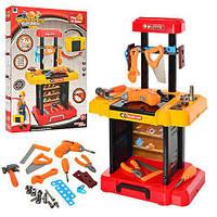Набор инструментов верстак,дрель,отвертка,молот,пила,на батарейке, в коробке,61-43-6см