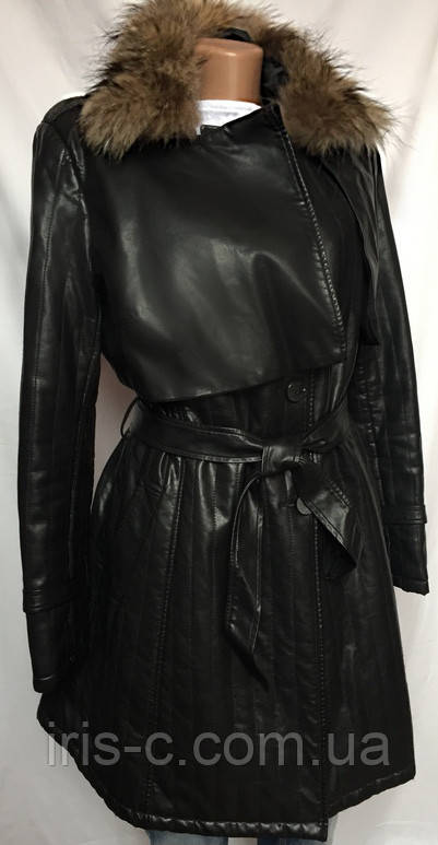 Пальто утепленное, стеганое, кожа козы имитация, воротник натуральный мех, размер M