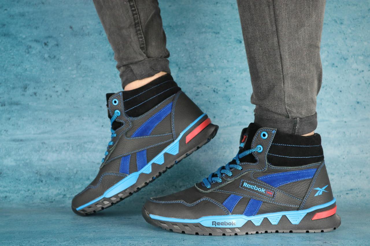 Мужские зимние кроссовки Reebok (черный\голубой),ТОП-реплика