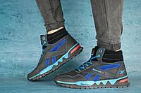 Мужские зимние кроссовки Reebok (черный\голубой),ТОП-реплика, фото 1