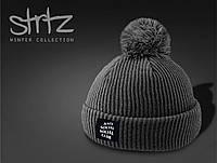 Сіра шапка чоловіча/жіноча c помпоном/бубоном anti social club, фото 1