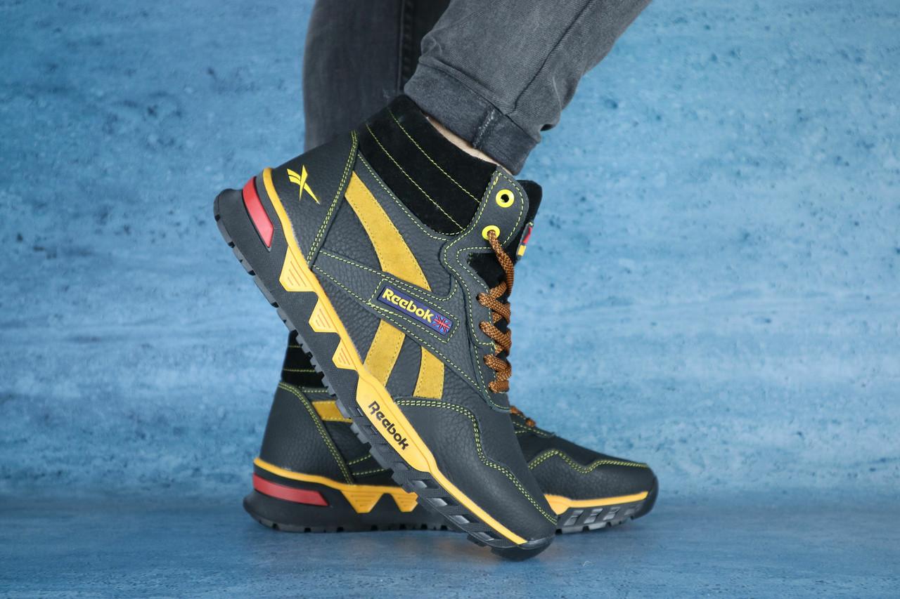 Мужские зимние кроссовки Reebok (черный\желтый), ТОП-реплика
