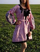 Вишите лляне рожеве плаття з машинною вишивкою, фото 1