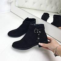 Ботинки женские Stars черные замша демисезон, ботинки женские осень весна