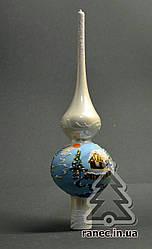Верхушка стеклянная Зимний пейзаж молоко 1-2