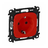 Розетка LEGRAND Valena Allure 2К+З со шторками безвинтовые  зажимы красная (754980)