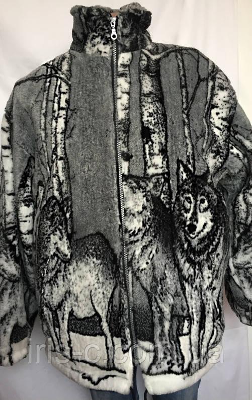 Куртка женская теплая, флисовая с рисунком волки, размер XL