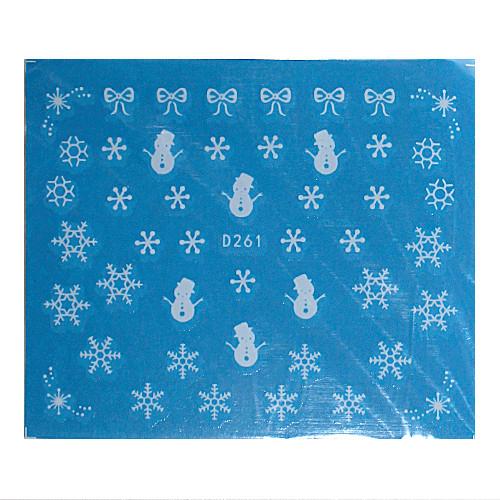 KATTi Наклейки водные - D 261 белые снежинки (новый год)