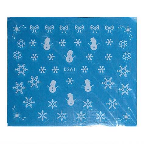 KATTi Наклейки водные - D 261 белые снежинки (новый год), фото 2