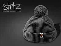 Теплая шапка на осень/зиму c помпоном/бубоном Bape