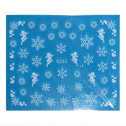 KATTi Наклейки водные - D 262 белые снежинки (новый год)