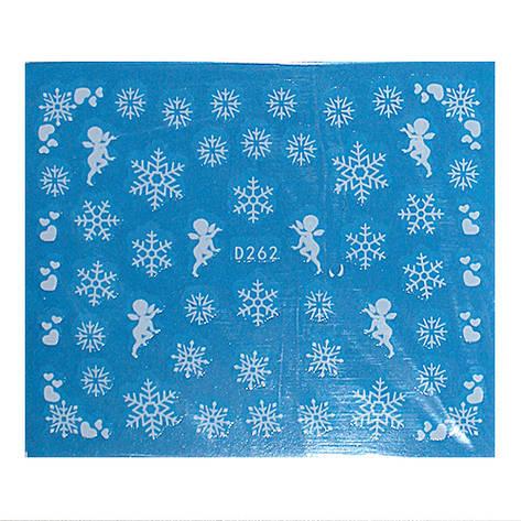 KATTi Наклейки водные - D 262 белые снежинки (новый год), фото 2