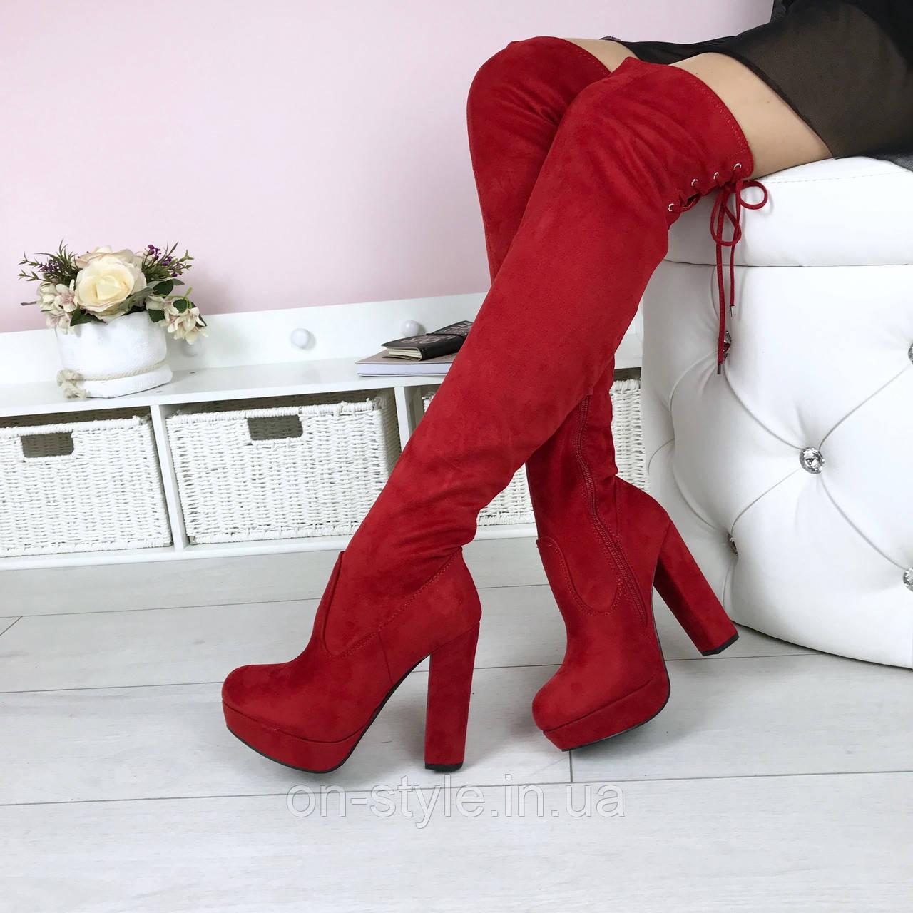 7f45686a6605 Женские красные демисезонные ботфорты- чулки на удобном каблуке: продажа,  цена в ...