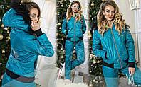 Стильный удобный лыжный костюм с капюшоном и мехом на синтепоне очень тёплый!