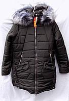 Куртка женская длинная на меху с меховым капюшоном большой размер зима черная
