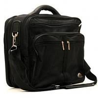 Мужская полукаркасная классическая черная сумка Wallaby с расширением из жатки