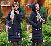 Пальто женское стеганое на холлофайбере с капюшоном P7811