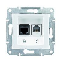 Розетка компьютерная+телефонная RJ45+RJ11  5е UTP Schneider Sedna Белый (SDN5100121)
