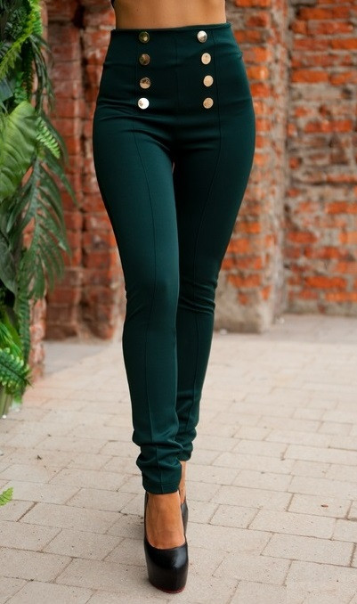 Леггинсы темно-зеленого цвета с пуговицами