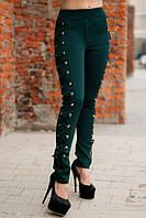 Лосины украшенные шнуровкой темно-зеленые