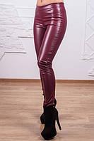 Лосины в виде кожаных брюк цвета марсала