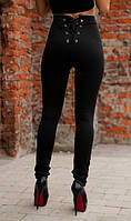 Лосины со шнуровкой сзади черные