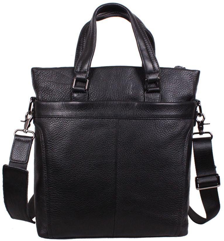Вертикальная кожаная мужская сумка BBC9009 черная