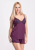 Женская пижама из нежного шелка П017 фиолетового цвета