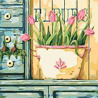Картина по номерам без коробки Розовые тюльпаны (арт. KHO2028) 40 х 40 см